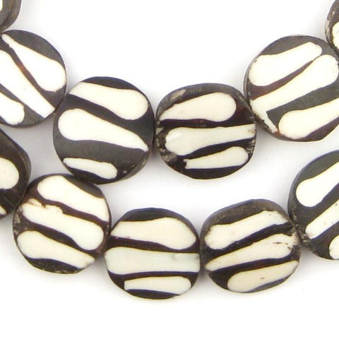 Zebra Design Batik Bone Beads (Circular) - The Bead Chest