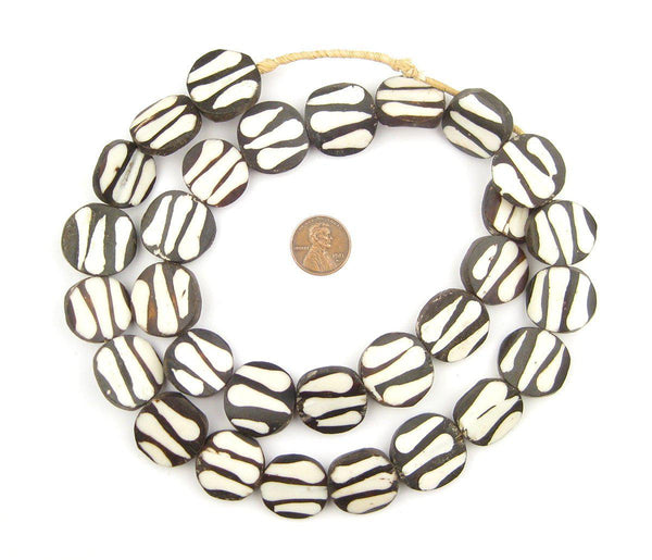 Zebra Design Batik Bone Beads (Circular)