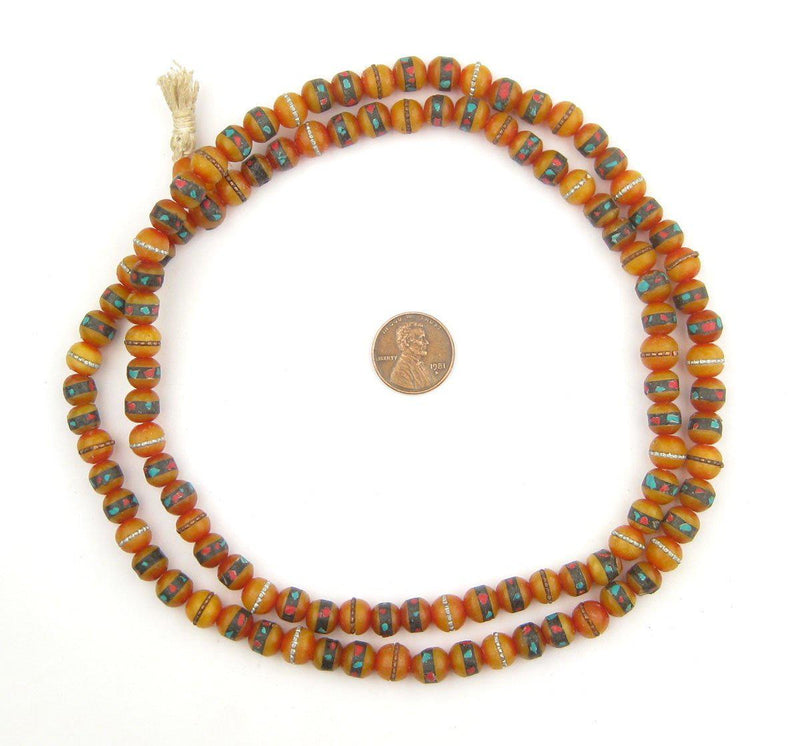 Vintage Inlaid Resin Prayer Beads (8mm) - The Bead Chest