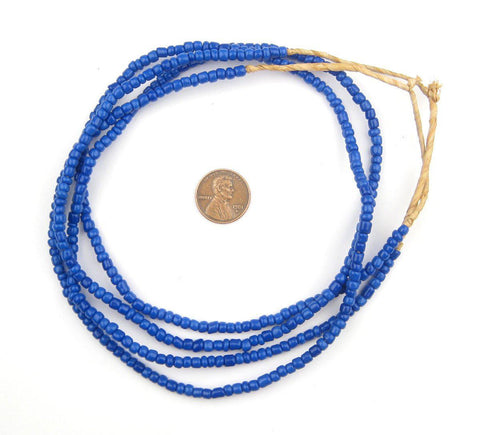 Image of Cobalt Blue Glass Beads (2 Strands) - The Bead Chest