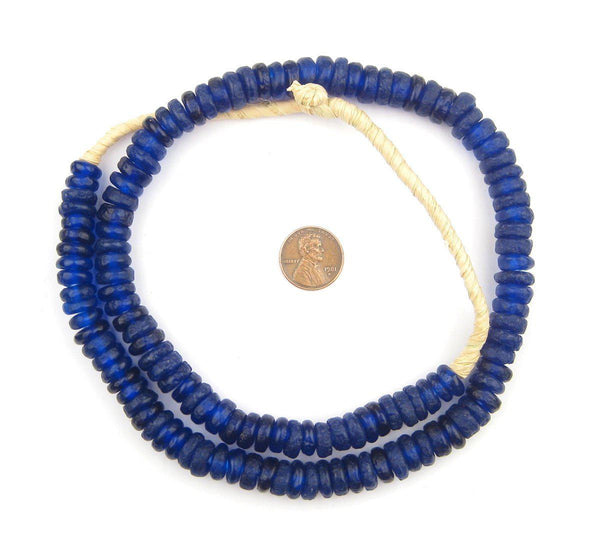 Cobalt Blue Rondelle Recycled Glass Beads