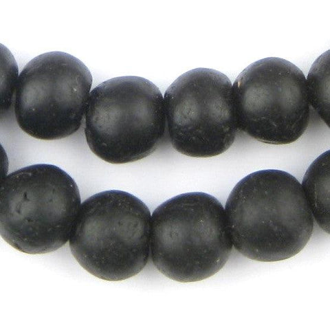 Opaque Black Recycled Glass Beads (14mm) - The Bead Chest