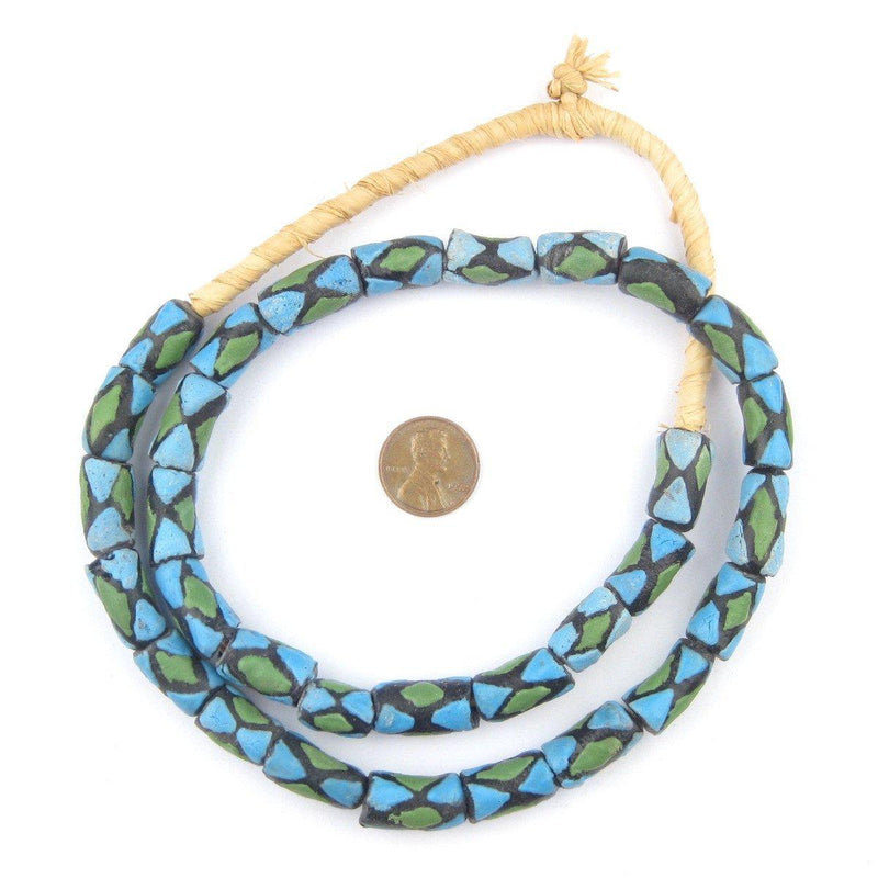 Blue-Green Argyle-Pattern Krobo Powder Glass Beads - The Bead Chest