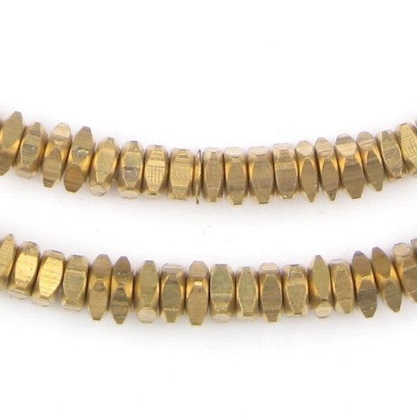 Faceted Brass Square Beads (6mm) - The Bead Chest