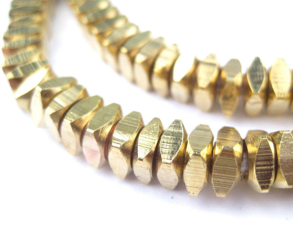 Faceted Gold Color Square Beads (6mm) - The Bead Chest