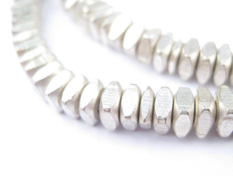 Faceted Silver Square Beads (6mm) - The Bead Chest