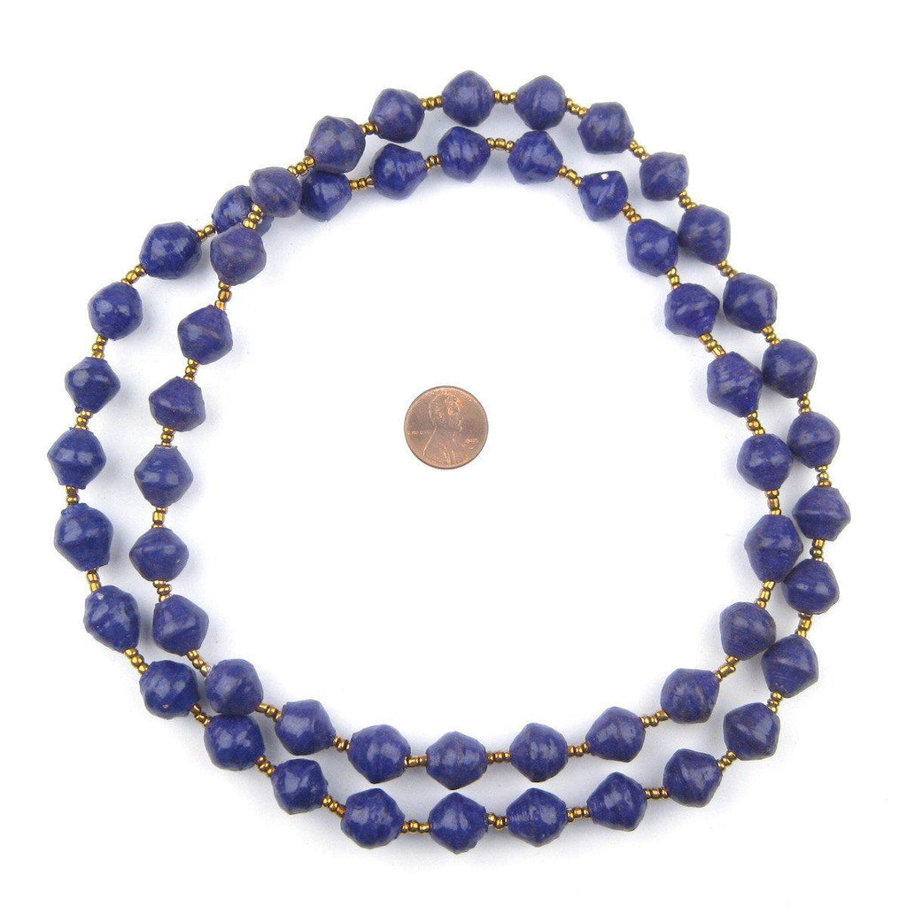 Royal Purple Recycled Paper Beads from Uganda - The Bead Chest