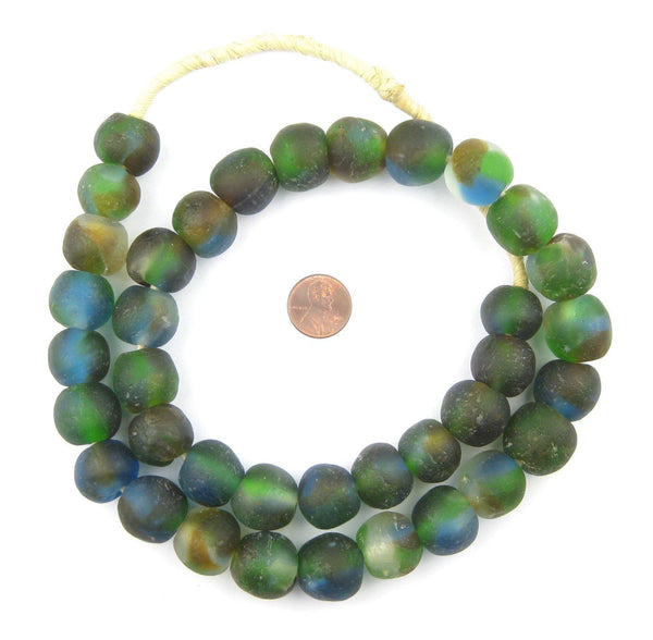 Dark Blue Green Brown Swirl Recycled Glass Beads (18mm)