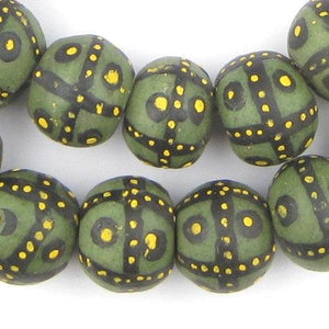 Jumbo Painted Krobo Glass Beads (Green French Cross) - The Bead Chest