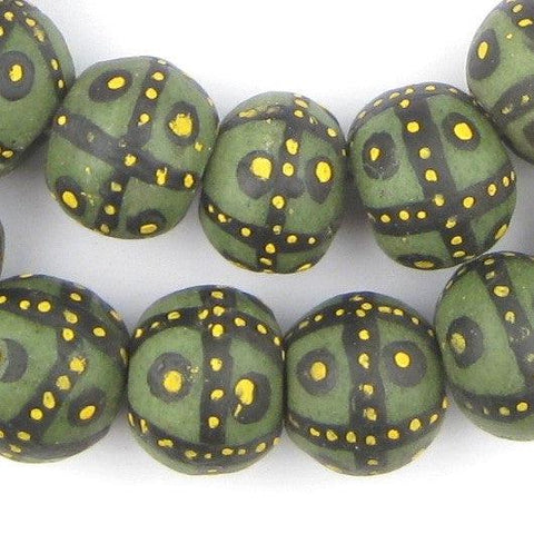 Image of Jumbo Painted Krobo Glass Beads (Green French Cross) - The Bead Chest