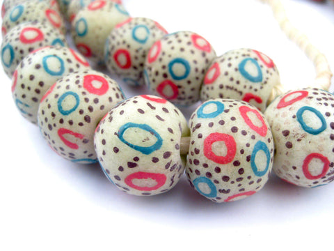 Jumbo Painted Krobo Glass Beads (Dotted White) - The Bead Chest