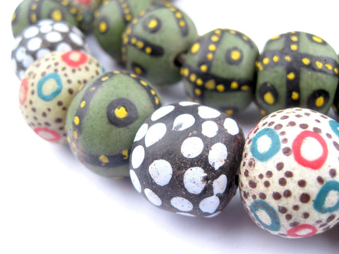 Image of Jumbo Painted Krobo Glass Beads (Medley) - The Bead Chest