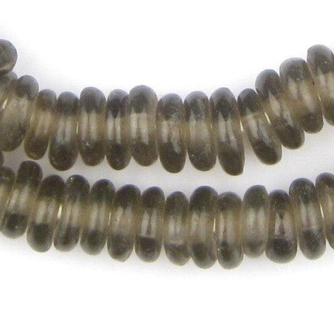 Groundhog Grey Rondelle Recycled Glass Beads (Smooth)