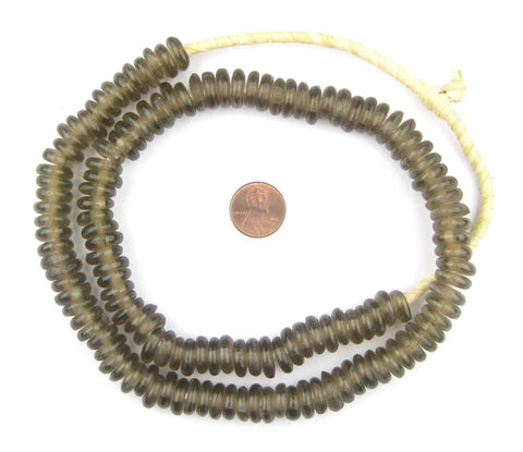 Groundhog Grey Rondelle Recycled Glass Beads (Smooth) - The Bead Chest
