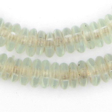 Clear Aqua Rondelle Recycled Glass Beads
