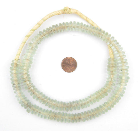 Image of Clear Aqua Rondelle Recycled Glass Beads - The Bead Chest