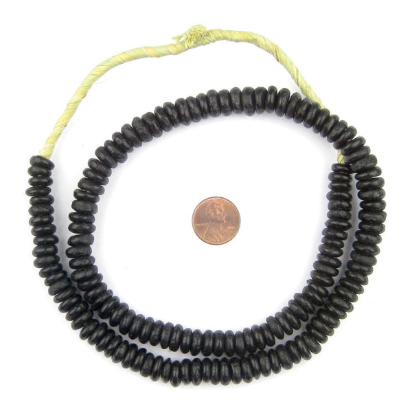 Opaque Black Rondelle Recycled Glass Beads