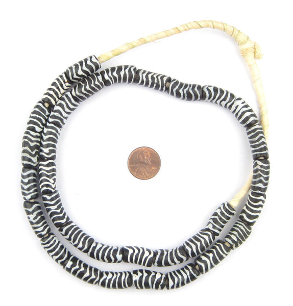 Zebra Krobo Powder Glass Beads