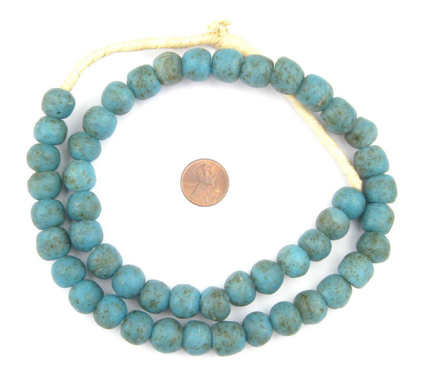 Vintage-Style Turquoise Recycled Glass Beads (13mm)