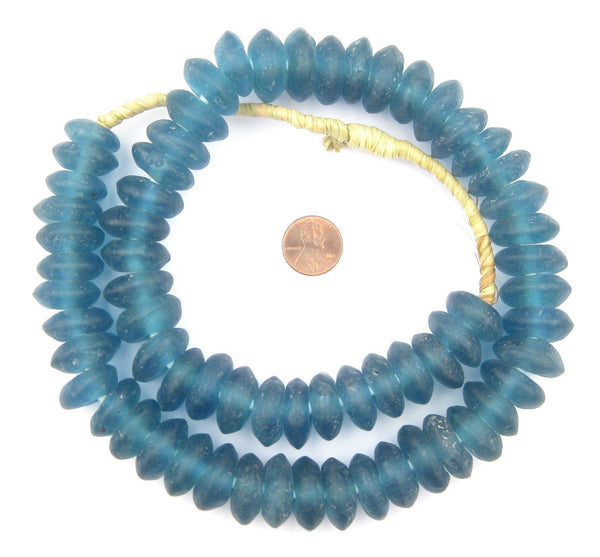 Jumbo Light Blue Rondelle Recycled Glass Beads
