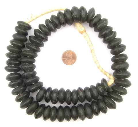 Jumbo Opaque Black Rondelle Recycled Glass Beads - The Bead Chest