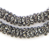 Black & White Fused Rondelle Recycled Glass Beads - The Bead Chest