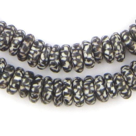 Black & White Fused Rondelle Recycled Glass Beads (11mm) - The Bead Chest