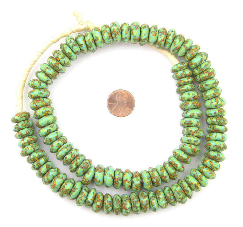 Organic Green Fused Rondelle Recycled Glass Beads (14mm) - The Bead Chest