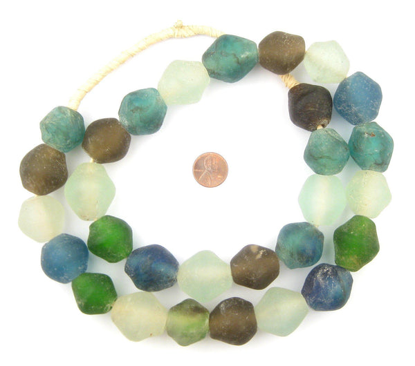 Multicolor Bicone Recycled Glass Beads (25mm)