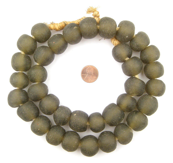 Groundhog Grey Recycled Glass Beads (21mm)