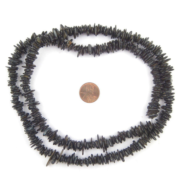 Midnight Black Moroccan Shell Chip Beads