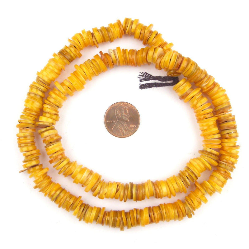 Yellow Rough Moroccan Heishi Shell Beads - The Bead Chest