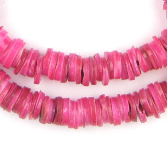 Pink Rough Moroccan Heishi Shell Beads - The Bead Chest