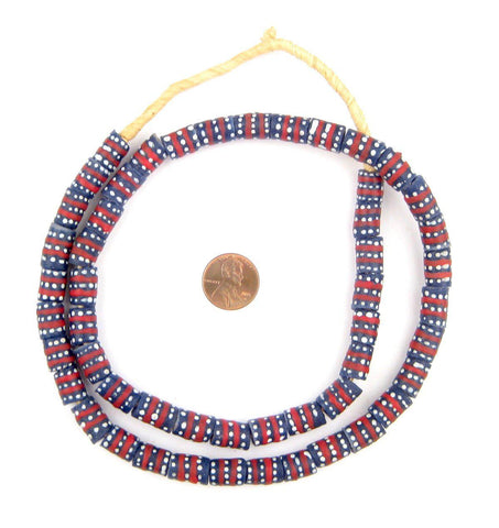 Red Stripe and Dot Krobo Beads - The Bead Chest