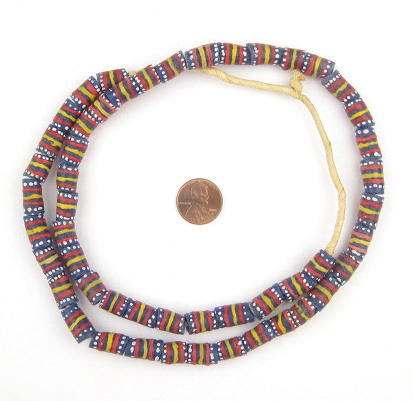 Yellow Dot and Stripe Krobo Beads
