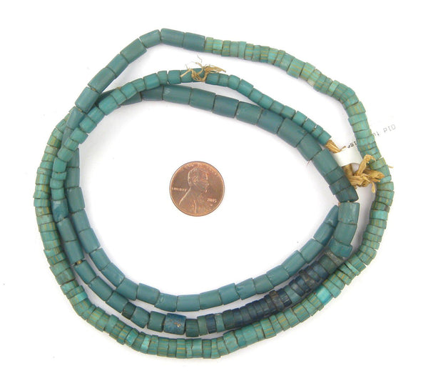 Old Turquoise Venetian Glass Beads (Long Strand)