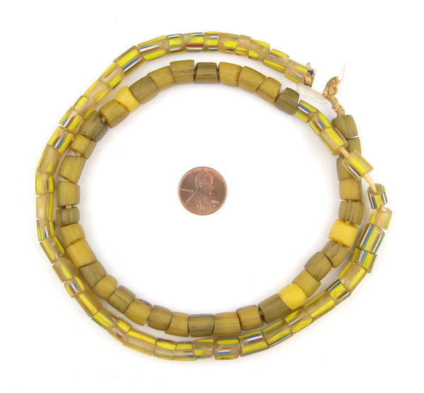 Old Translucent & Opaque Yellow Venetian Glass Beads