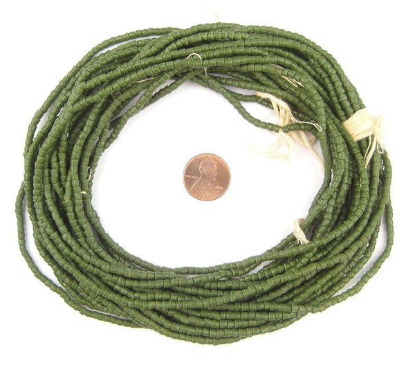 Forest Green Sandcast Seed Beads