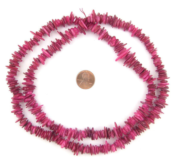 Magenta Moroccan Shell Chip Beads