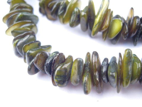 Forest Green Moroccan Shell Chip Beads - The Bead Chest
