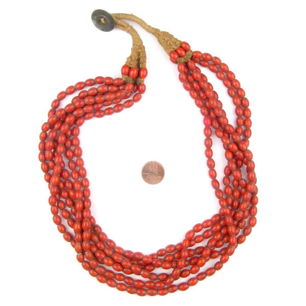 Coral Red Naga Bead Necklace
