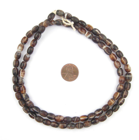 Vintage Bohemian Coffee Bean Glass Beads (9x7mm) - The Bead Chest