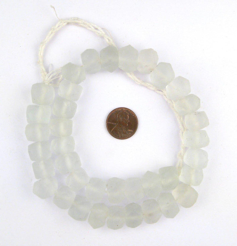 Clear Faceted Recycled Java Sea Glass Beads - The Bead Chest