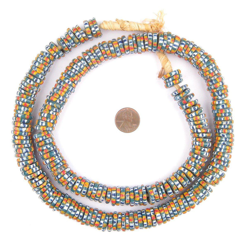 Chevron Style Aja Krobo Powder Glass Beads (15mm) - The Bead Chest