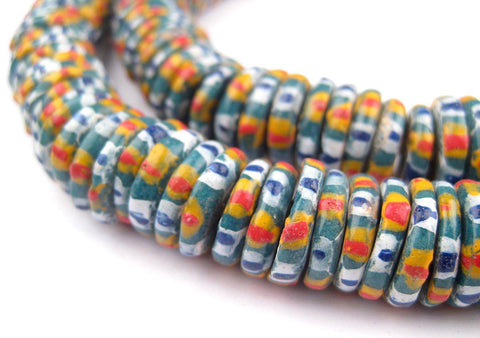 Image of Chevron Style Aja Krobo Powder Glass Beads (15mm) - The Bead Chest