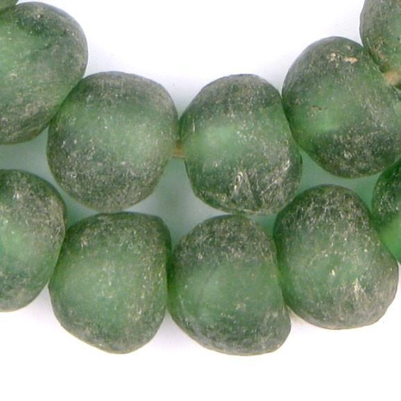 Jumbo Light Green Recycled Glass Beads (24mm) - The Bead Chest