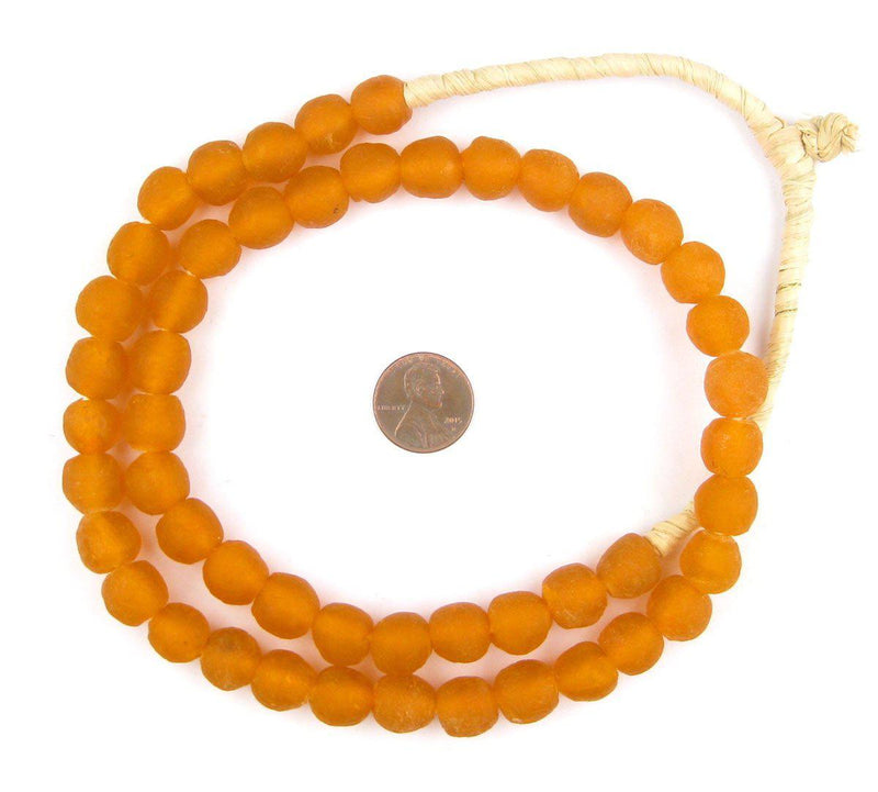 Tangerine Orange Recycled Glass Beads (11mm) - The Bead Chest