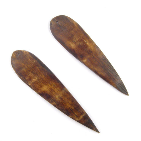 Image of Brown Bone Feather Pendant (Set of 2) - The Bead Chest