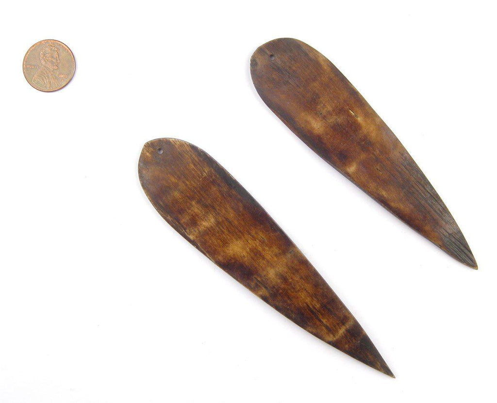 Brown Bone Feather Pendant (Set of 2) - The Bead Chest