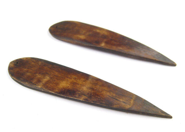 Brown Bone Feather Pendant (Set of 2)